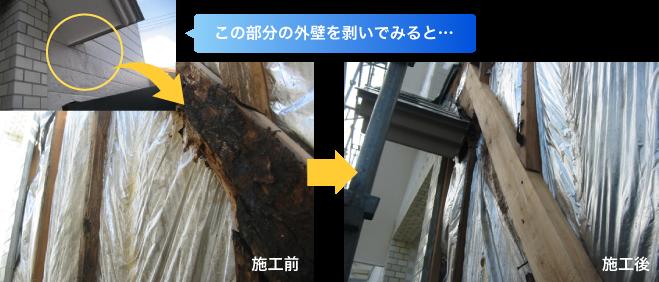 雨漏りに関する躯体(筋替え)の腐食交換