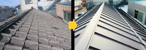 瓦屋根を金属屋根に変える